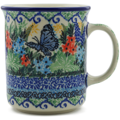 Polish Pottery Mug 10 oz Royal Blue Monarch UNIKAT