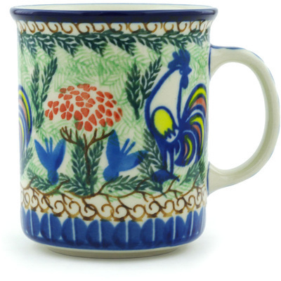 Polish Pottery Mug 10 oz Summer Rooster UNIKAT