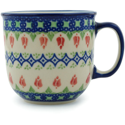 Polish Pottery Mug 10 oz Tulips And Diamonds