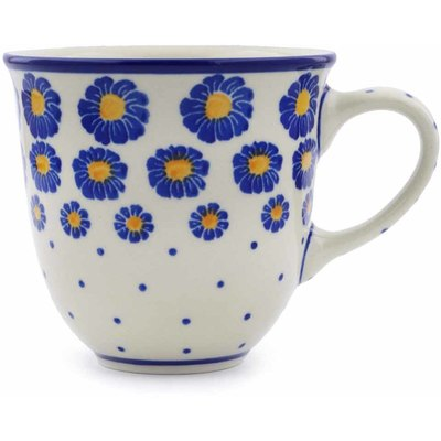 Polish Pottery Mug 10 oz Wreath Of Blue