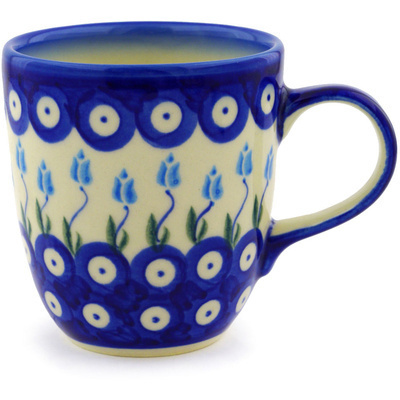Polish Pottery Mug 11 oz Peacock Tulip Garden