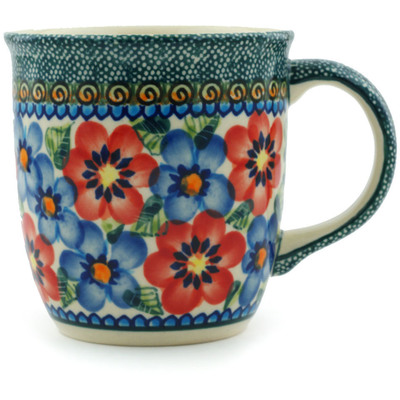 Polish Pottery Mug 12 oz Blue And Red Poppies UNIKAT