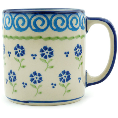 Polish Pottery Mug 12 oz Blue Bursts