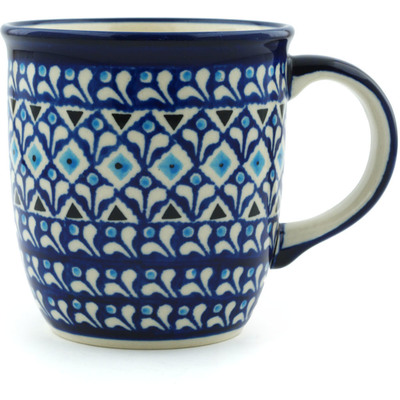 Polish Pottery Mug 12 oz Blue Diamond Dream