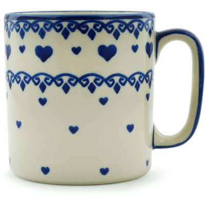 Polish Pottery Mug 12 oz Blue Valentine