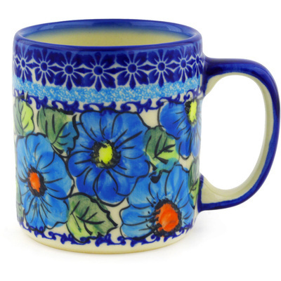 Polish Pottery Mug 12 oz Bold Blue Poppies UNIKAT