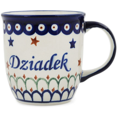 Polish Pottery Mug 12 oz Dziadek-grandpa