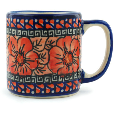 Polish Pottery Mug 12 oz Fire Poppies UNIKAT