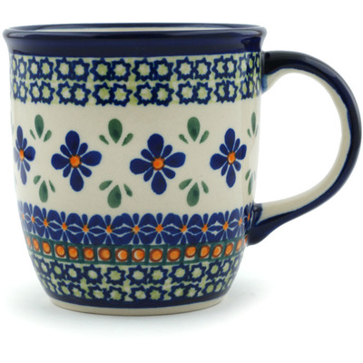 Polish Pottery Mug 12 oz Gingham Flowers