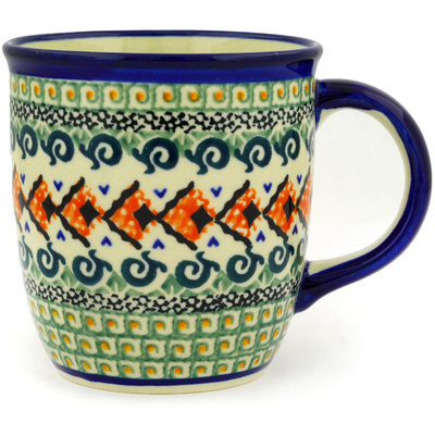 Polish Pottery Mug 12 oz Green Mosaic UNIKAT