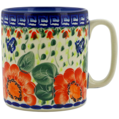 Polish Pottery Mug 12 oz Happiness UNIKAT