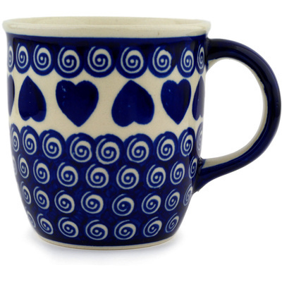 Polish Pottery Mug 12 oz Heart Swirls
