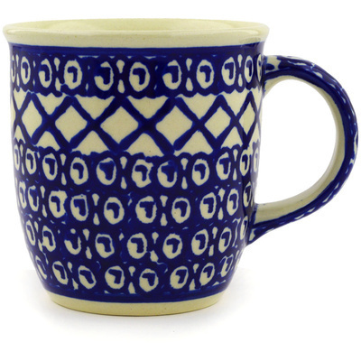 Polish Pottery Mug 12 oz Lattice Peacock