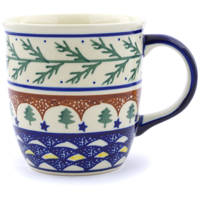 Polish Pottery Mug 12 oz Pine Boughs