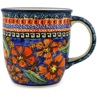 Polish Pottery Mug 12 oz Poppies UNIKAT