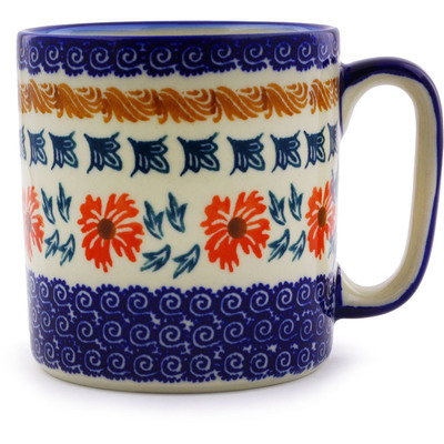 Polish Pottery Mug 12 oz Red Cornflower