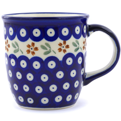 Polish Pottery Mug 12 oz Red Daisy Peacock