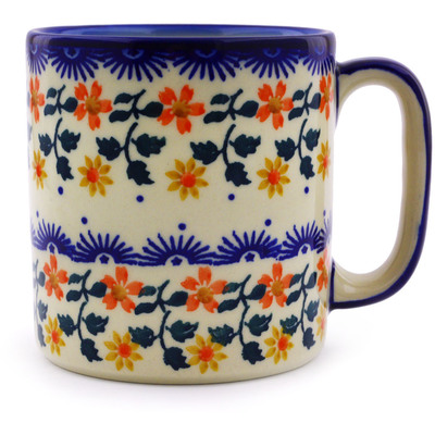 Polish Pottery Mug 12 oz Red Sunflower