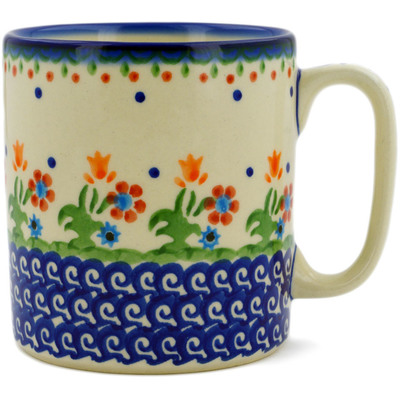 Polish Pottery Mug 12 oz Spring Flowers