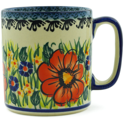 Polish Pottery Mug 12 oz Wild Bouquet UNIKAT