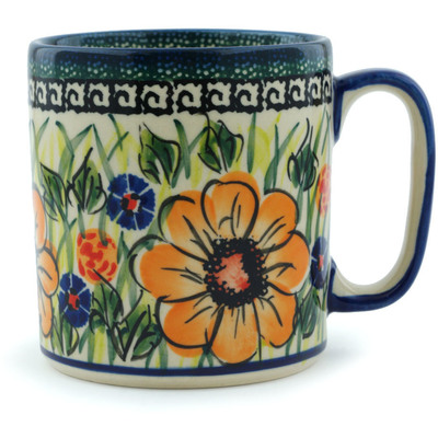 Polish Pottery Mug 12 oz Yellow Flower UNIKAT