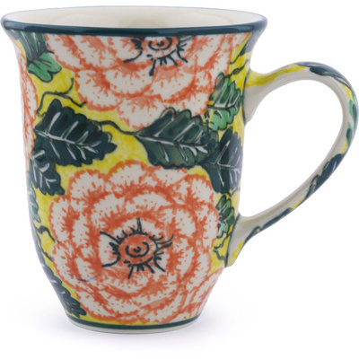 Polish Pottery Mug 15 oz Orange Peonies UNIKAT