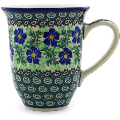 Polish Pottery Mug 15 oz Swirling Emeralds