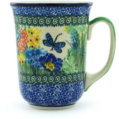 Polish Pottery Mug 17 oz Dragonfly Delight UNIKAT