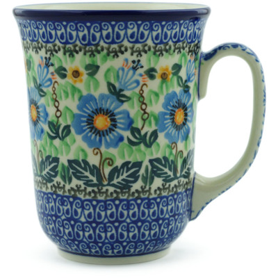 Polish Pottery Mug 17 oz Grecian Blooms UNIKAT