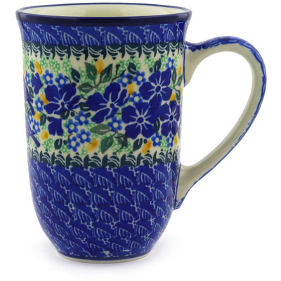Polish Pottery Mug 17 oz Sitting Blue Birds UNIKAT
