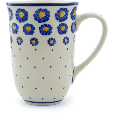 Polish Pottery Mug 17 oz Wreath Of Blue