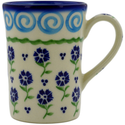 Polish Pottery Mug 8 oz Blue Bursts