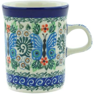 Polish Pottery Mug 8 oz Blue Butterfly Brigade UNIKAT