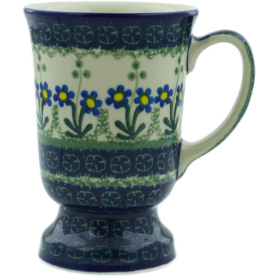 Polish Pottery Mug 8 oz Blue Daisy Circle