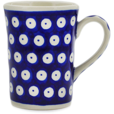 Polish Pottery Mug 8 oz Blue Eyed Peacock