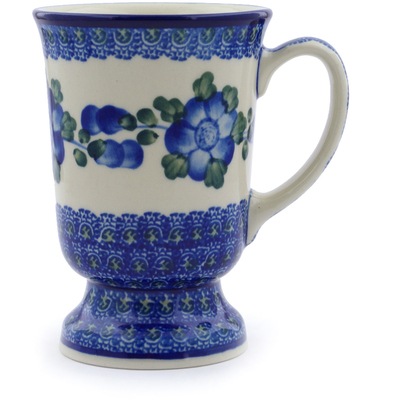 Polish Pottery Mug 8 oz Blue Poppies