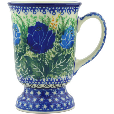 Polish Pottery Mug 8 oz Brilliant Blue Rose UNIKAT