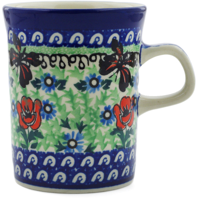 Polish Pottery Mug 8 oz Brown Butterfly Garden UNIKAT