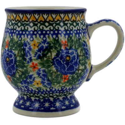 Polish Pottery Mug 8 oz Dancing Pansies UNIKAT