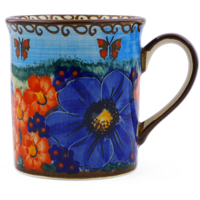 Polish Pottery Mug 8 oz Field Of Butterflies UNIKAT