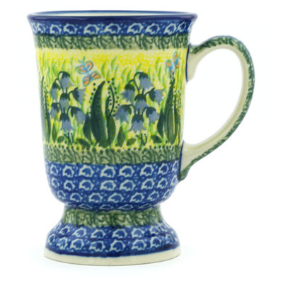 Polish Pottery Mug 8 oz Lakeside Bluebells UNIKAT