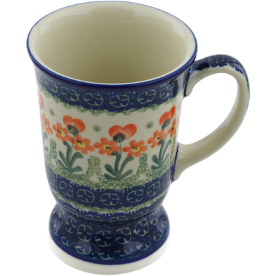 Polish Pottery Mug 8 oz Peach Spring Daisy