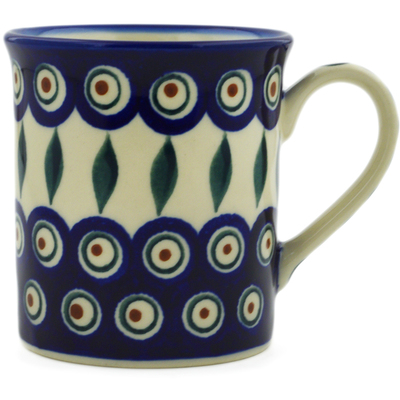 Polish Pottery Mug 8 oz Peacock