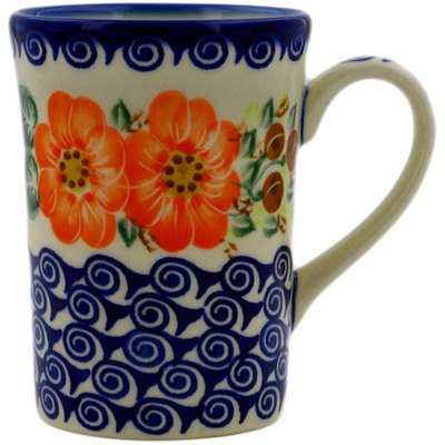 Polish Pottery Mug 8 oz Red Blossom