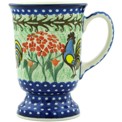 Polish Pottery Mug 8 oz Rooster Dance UNIKAT