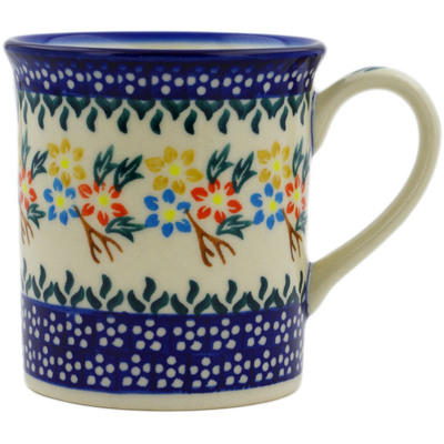 Polish Pottery Mug 8 oz Spring Flower Ring