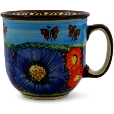 Polish Pottery Mug 9 oz Field Of Butterflies UNIKAT