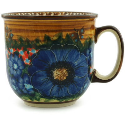 Polish Pottery Mug 9 oz Tropical Wildflowers UNIKAT