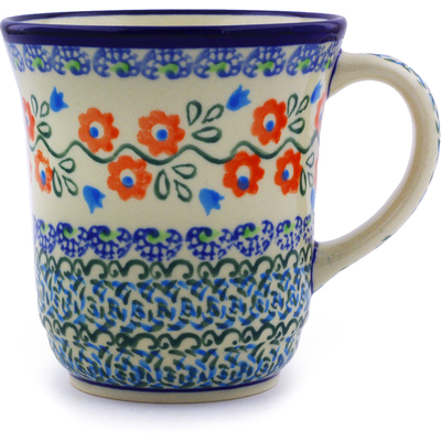 Polish Pottery Mug 9 oz Tulip Vines