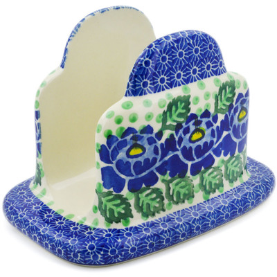 "Polish Pottery Napkin Holder 7"" Blue Bliss"